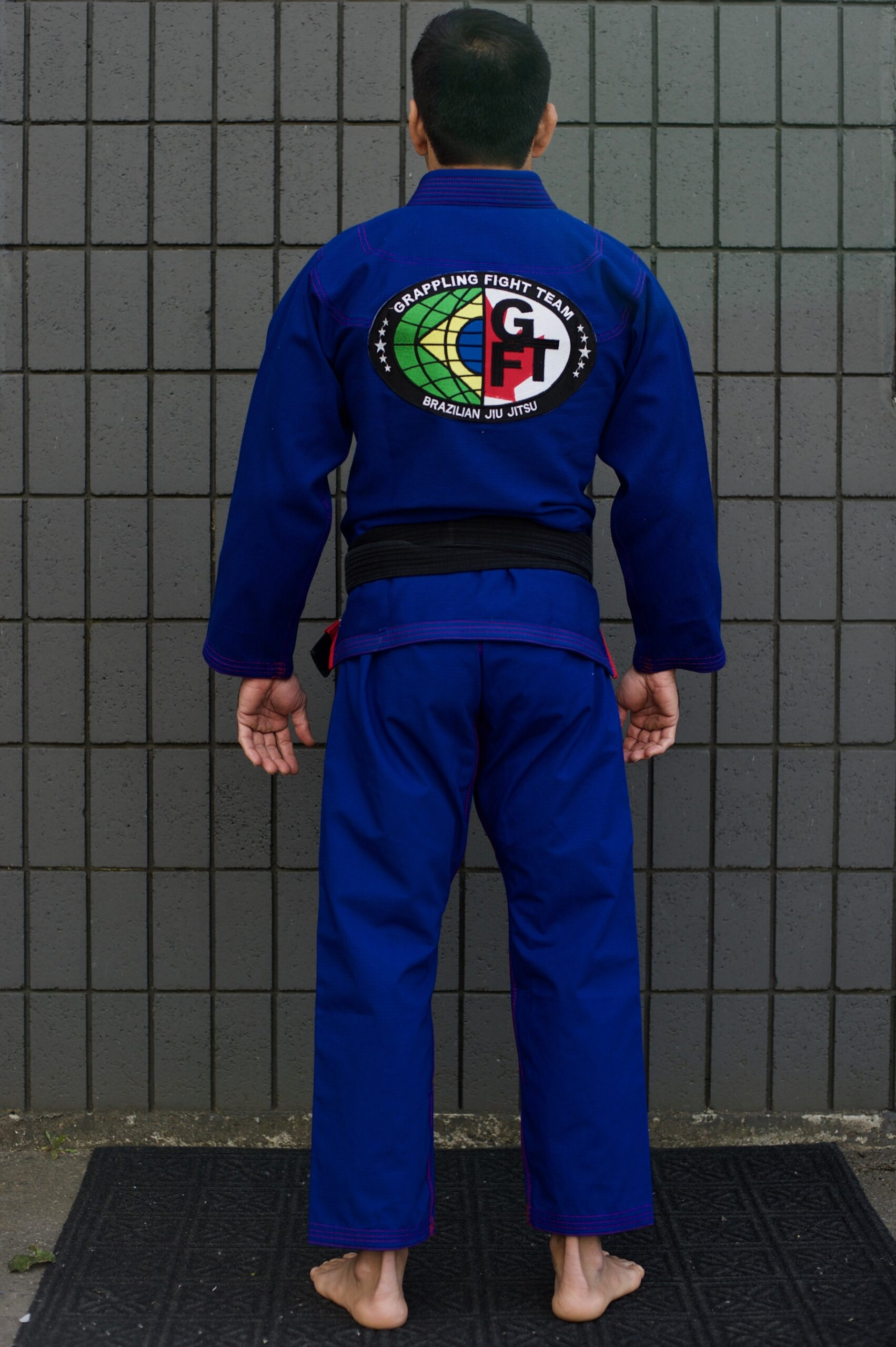 GFTeam Canada mens blue gi red accent back